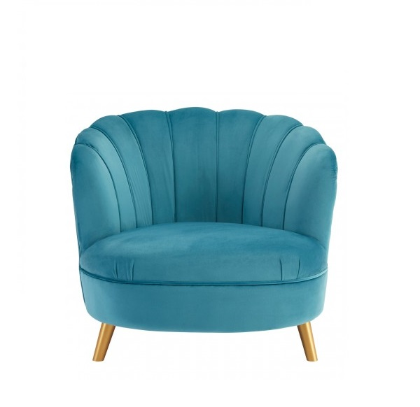 Greyblue Velvet Chair With Gold Wood Legs